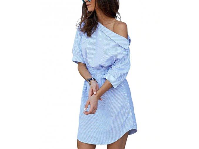 Dámske sexi šaty s odhaleným ramenom až 2XL (Velikost L)