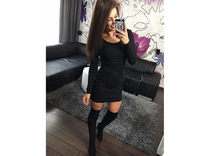 Mini šaty s dlouhými rukávy černé - SLEVA 25% (Velikost S)