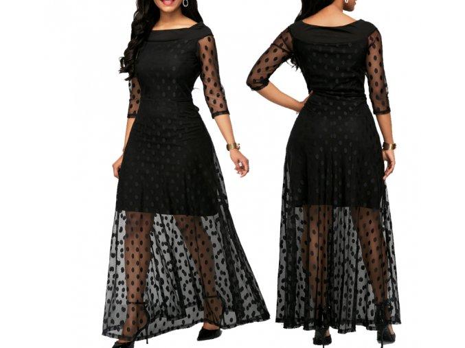 Dámske spoločenské čierne bodkované šaty až 2XL (Velikost L)