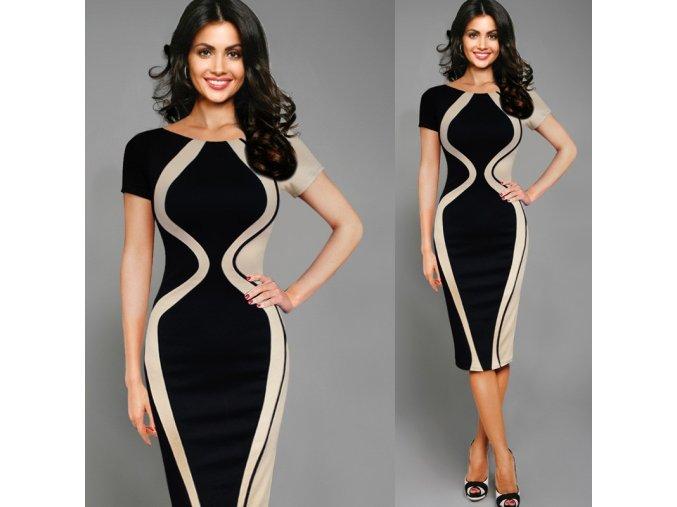 Dlouhé elegantní vzorované šaty až 5XL (Velikost XXXL)