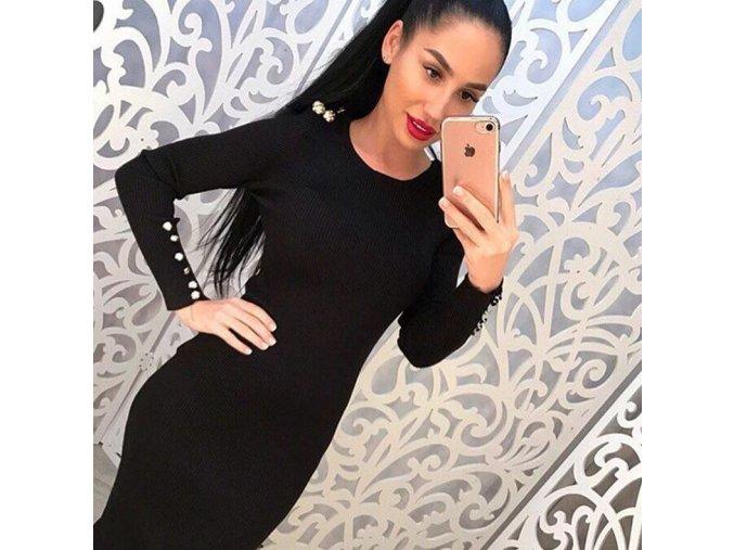 Dámské extra dlouhé šaty s dlouhým rukávem zdobené manžetovými knoflíčky černé (Velikost XL)
