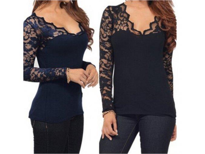 Dámské tričko s krajkovanými rukávy - různé barvy a velikosti - SLEVA 70% (Barva Modrá, Velikost 5XL)