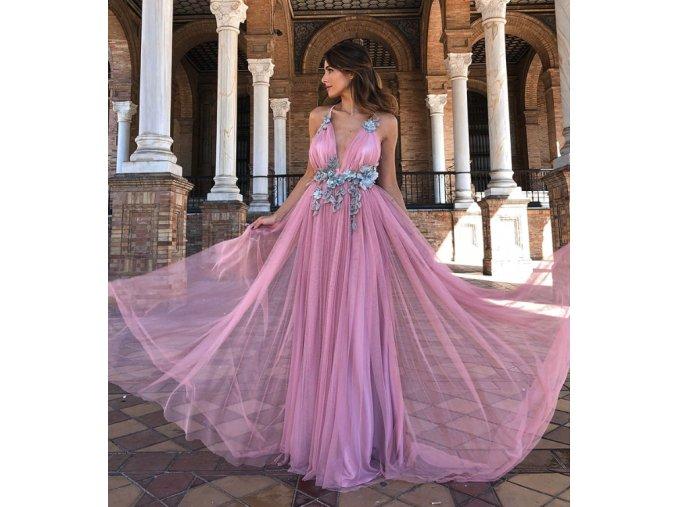 Dámske spoločenské ružové šaty s kvetmi večerné na svadbu alebo ples (Velikost L)