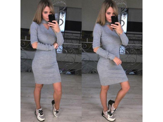 Dámské fashion originální šaty se zipy na loktech šedé (Velikost XL)