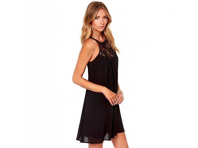 Dámské letní volné šaty (Barva Černá, Velikost XXL)