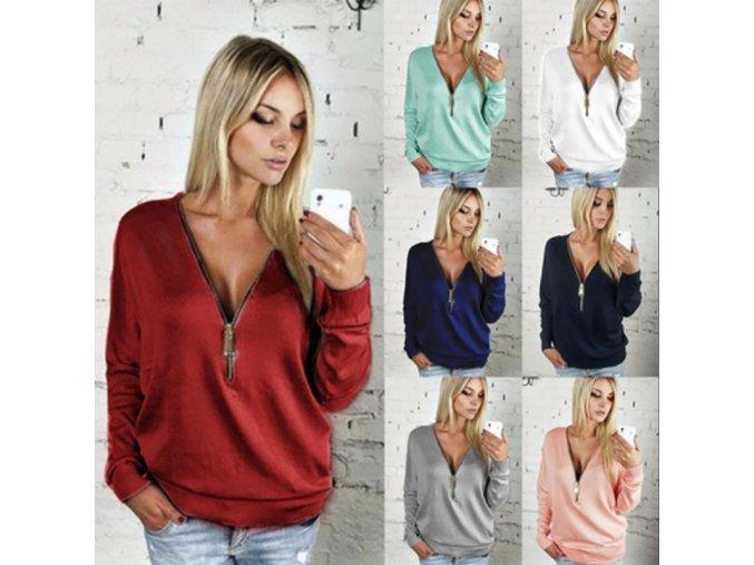 Dámské fleecové tričko s výstřihem - různé barvy a velikosti - SLEVA 70% (Barva Modrá, Velikost L)