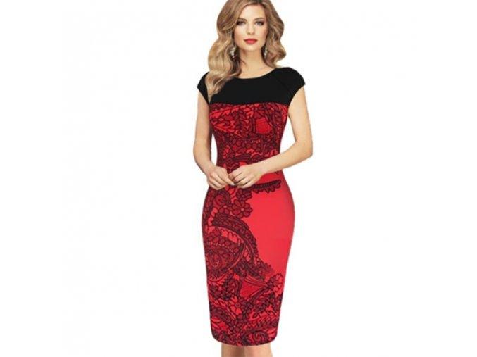 Dámské elegantní černo-červené šaty - SLEVA 40% (Velikost S)