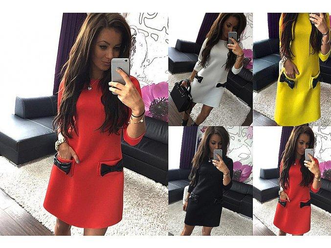 Dámske šaty s dlhými rukávmi a s mašľou na kapsách- viac farieb (Farba Červená, Velikost XL)
