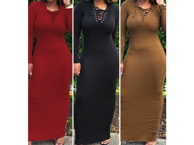 Dámske teplé dlhé šaty s šnúrkami viac farieb až 2XL (Farba Červená, Velikost S)