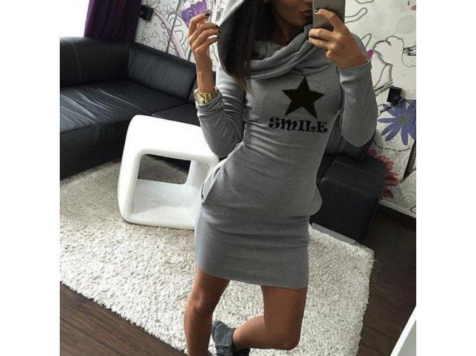 Stylové dlouhé šedé teplé zimní šaty SMILE (Velikost XL)