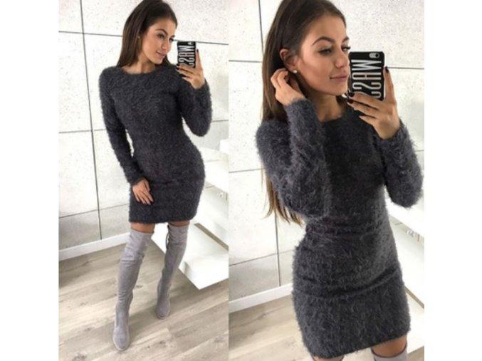 Dámské zimní huňaté mini šaty s dlouhým rukávem tmavě šedé (Velikost XL)