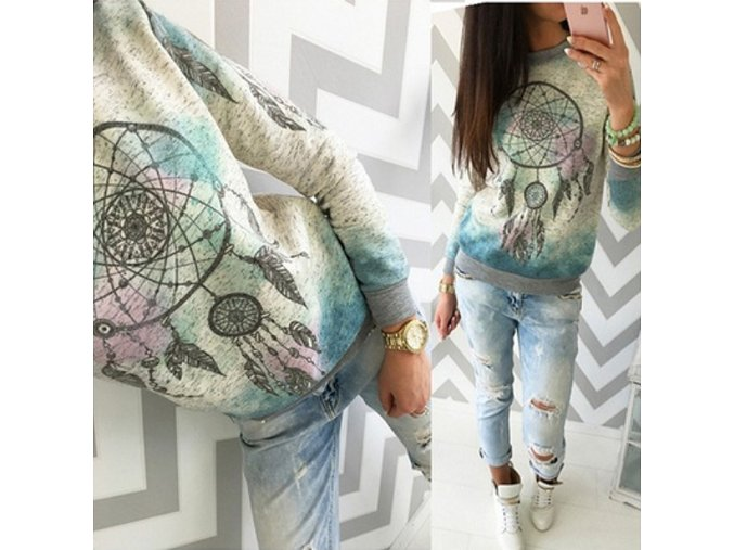 Stylový zimní dámský fashion TOP se vzory (Velikost XL)