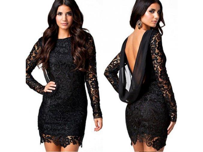 Krajkované elegantní černé šaty s dlouhým rukávem až 3XL (Velikost XXXL)