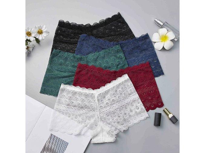 Dámske vyššia čipkované nohavičky - viac farieb (Farba Biela)