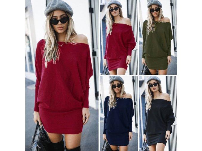 Dámske zimné pohodlné šaty s dlhými rukávmi až 2XL (Farba Červená, Velikost S)