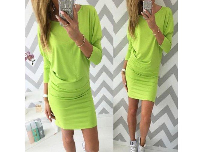 Stylové jarní šaty s dlouhým rukávem žlutozelené (Velikost XL)