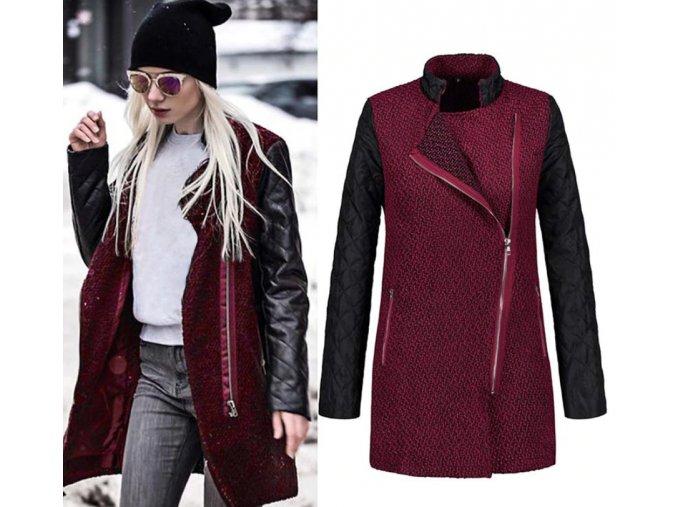 Dámsky červený kabát s rukávmi z koženky (Velikost L)