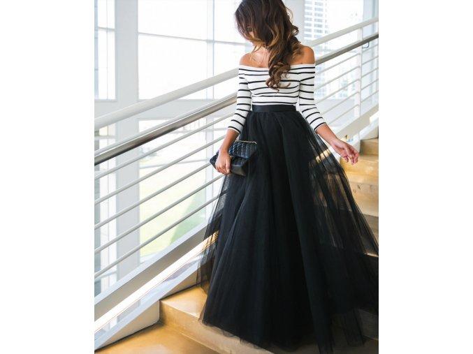 Dámsky čierno biely plesový set tylová sukňa a top, spoločenské šaty na ples (Velikost L)