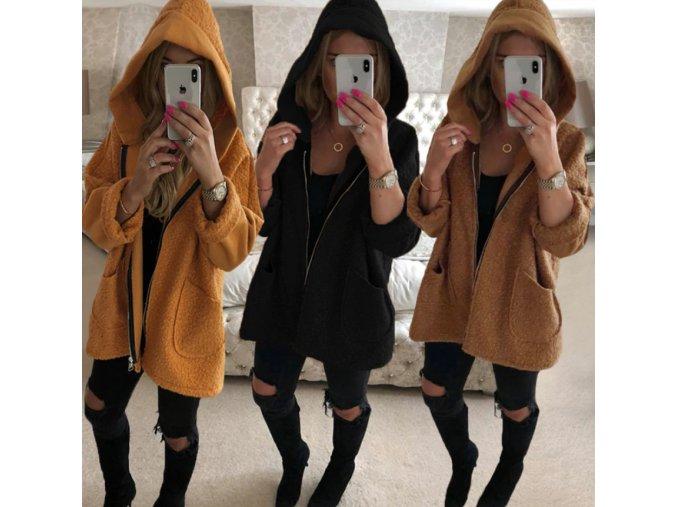Dámsky dlhý kabát s kapucňou na zips viac farieb až 3XL (Farba Žltá, Velikost 3XL)