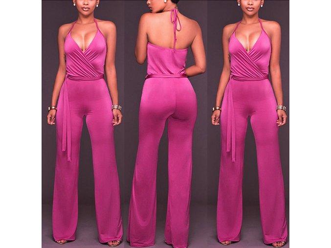 Luxusní růžový overal s dlouhými nohavicemi a vázáním v pase TOP (Velikost XL)