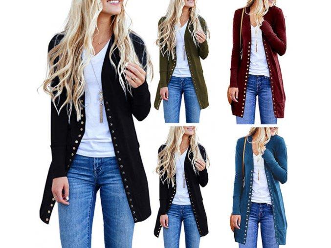 Dámsky elegantný polodlhý kardigan sveter - viac farieb (Farba Čierna, Velikost S)