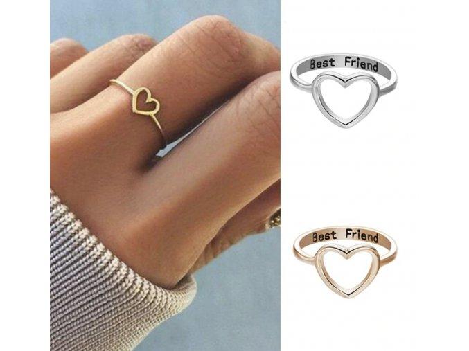 Dámsky elegantný prstienok priateľstvo BEST FRIEND viac farieb (Farba Strieborná, Varianta 10)