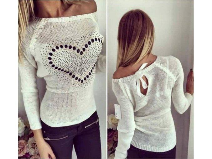 Dámský luxusní podzimní svetřík se srdíčkem bílý + POŠTOVNÉ ZDARMA (Velikost XL)