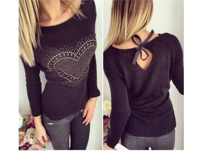 Dámský luxusní podzimní svetřík se srdíčkem černý + POŠTOVNÉ ZDARMA (Velikost XL)