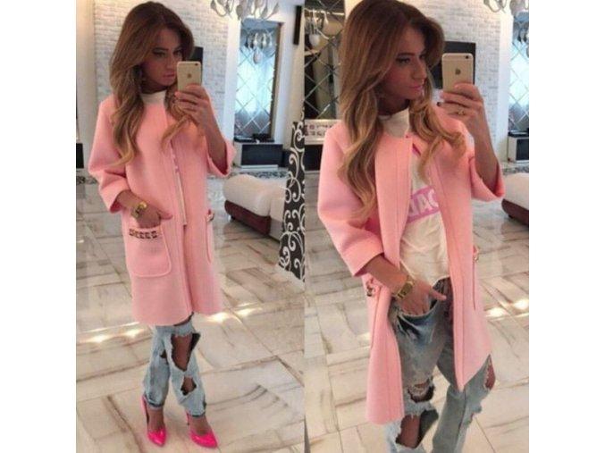 Dámský luxusní jarní kabátek se 3/4 rukávem růžový (Velikost XL)