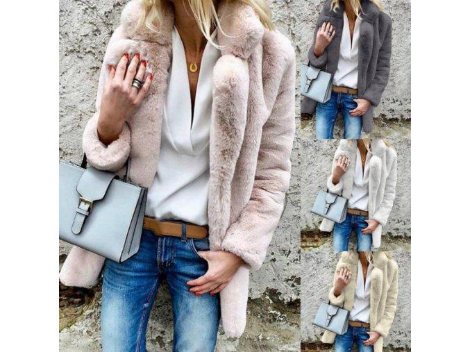 Dámsky luxusný jesenný kožušinový kabát viac farieb až 3XL (Farba Béžová, Velikost S)