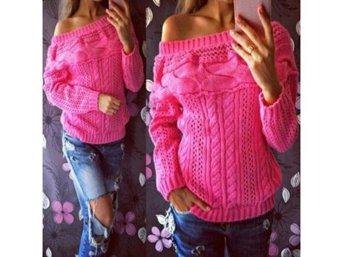 Dámský teplý pletený svetr růžový (Velikost XL)