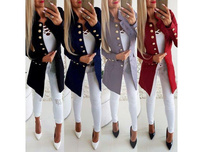 Dámsky štýlový dlhý elegantný jesenný kabát viac farieb (Farba Červená, Velikost S)
