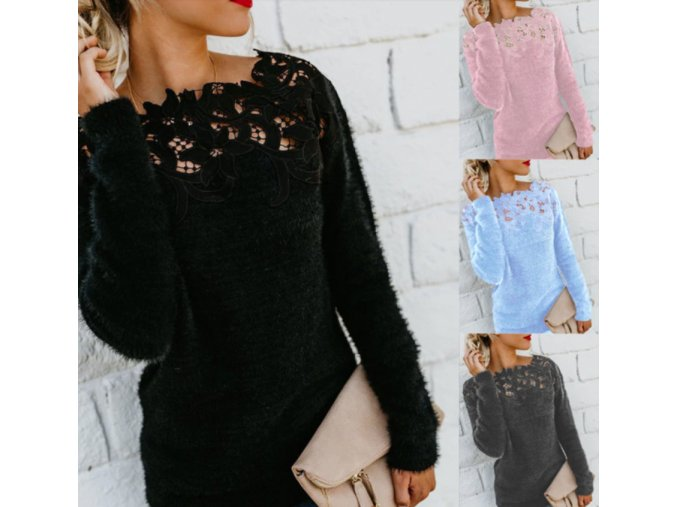Dámsky teplý huňatý sveter s originálnym dekoltom (Farba Čierna, Velikost S)