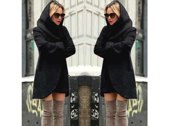 Dámský teplý podzimní černý kardigan s kapucí až 4XL (Vel XXL)