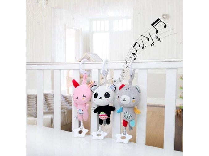 Darčeky pre deti hračky pre deti detské hračky darček pre bábätko plyšové hračky - hrajúci plyšáček do postieľky (Farba Čierna)