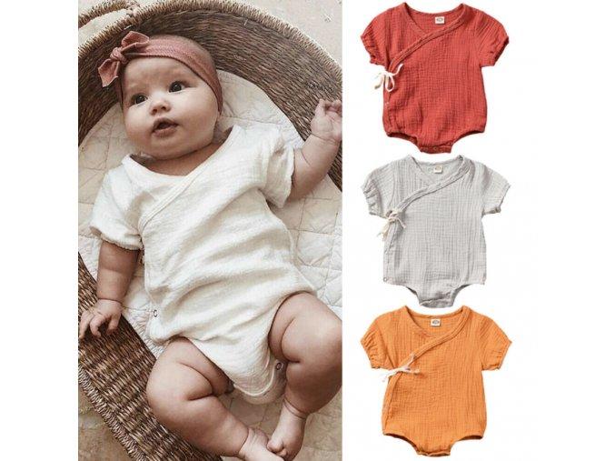 Detské oblečenie - zavinovacie body- 4 farby (Farba Biela, Velikost 3m)