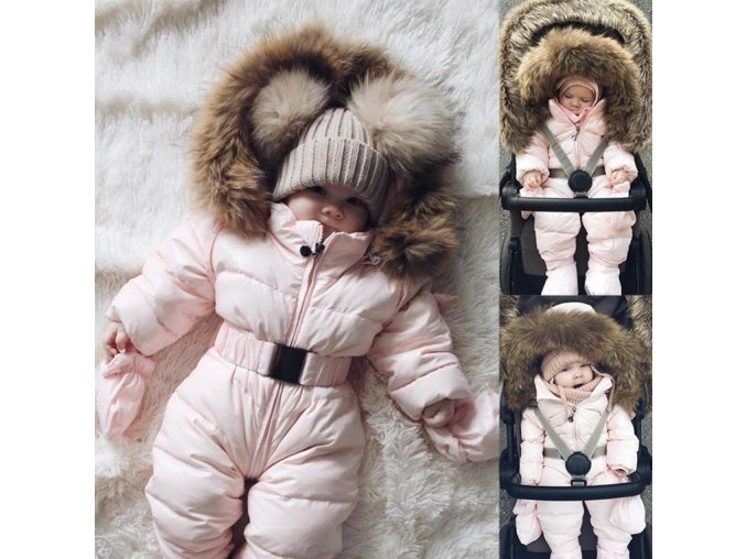 Dívčí zimní overal kombinéza s kožíškem- VÝPRODEJ SKLADU (Vel 9m)