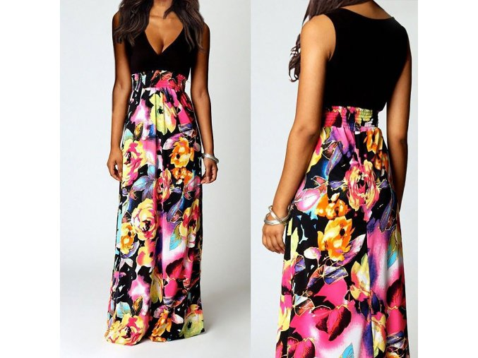 Dlouhé letní květované fashion šaty AKCE až 2XL (Vel XXL)