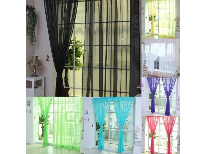 Levné hotové kusové záclony do plastových oken na tyč do bytu - bytový textil levně (Barva: žlutá)