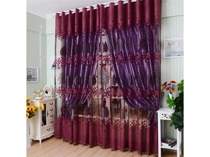 Moderní květinové záclony - SLEVA 20% (Barva Růžová)