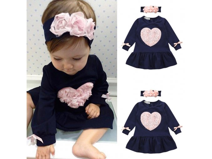 Oblečenie pre deti lacné- roztomilý set pre dievčatko- šaty + čelenka (Velikost 100)