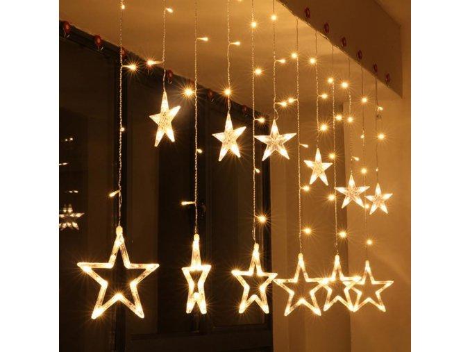 Vánoční dekorace - LED světelný řetěz - velké hvězdy 2m/12ks více barev (Barva Bílá)