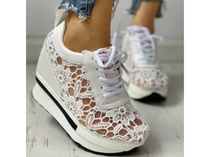 Topánky- Dámske luxusné čipkované letné biele topánky