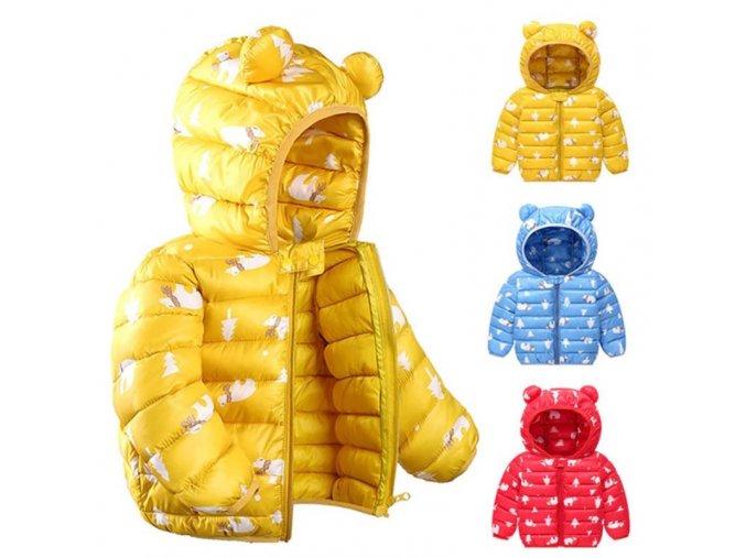 Oblečenie - detské oblečenie - oblečenie pre dievčatko - detské zimné bundy - detská bunda vhodná na jeseň a zimu s potlačou ľadového medvedíka