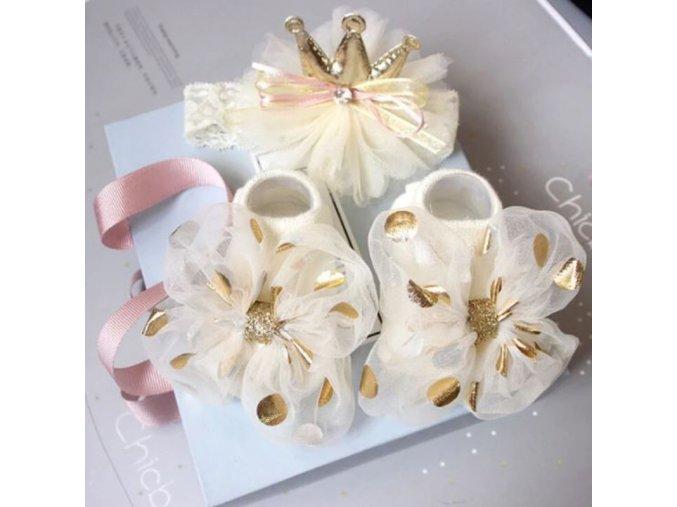 Bábätko - oblečenie pre bábätká - krásny set pre dievčatko ponožky + čelenka - ponožky - darček