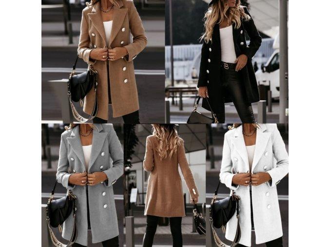 Dámske oblečenie - dámsky jesenný kabát zdobený gombíky - kabát - dámske zimné kabáty - dámske kabáty