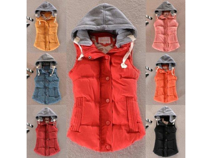 Oblečenie - dámska vesta - jesenná vesta s kapucňou a vreckami - dámske zimné bundy - výpredaj skladu