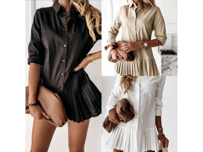 Oblečenie - košeľové šaty - dlhšia elegantná skladaná košele - šaty - dámske šaty