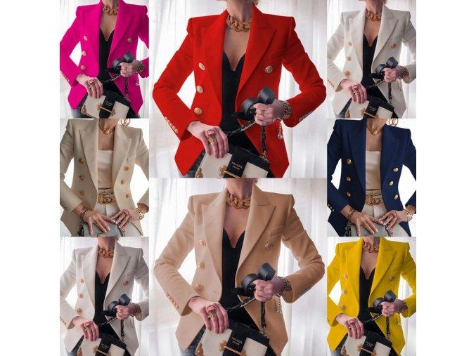 Oblečenie - dámske sako - elegantné sako zdobené gombíkmi - dámske jarné bundy - jarné bundy