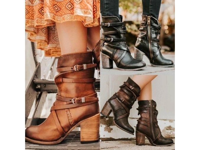 Topánky - dámske zimné topánky - dámske čižmy na podpätku s guľatou špičkou - čižmy - dámske čižmy - darček pre ženu